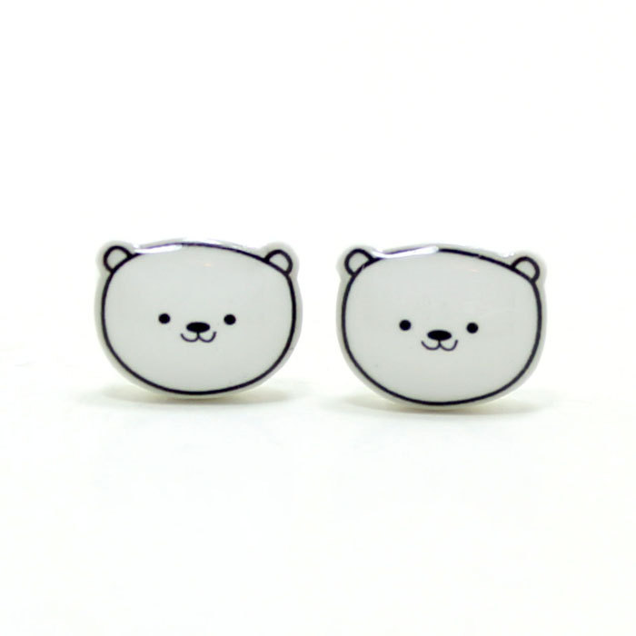 Polar Bear Earrings Sterling Silver Posts Studs Kawaii Cute