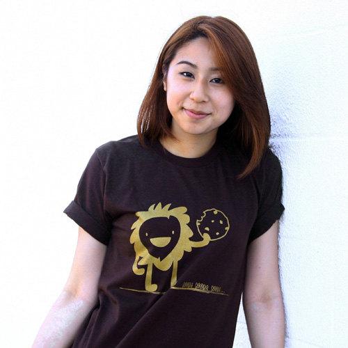 Nom Nom Nom Tshirt - Brown American Apparel Unisex Mens Womens Crew Neck Tee