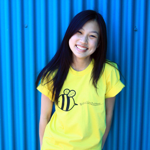 Free To Bee Tshirt - Sunshine Yellow American Apparel Unisex Mens Womens Crew Neck Tee