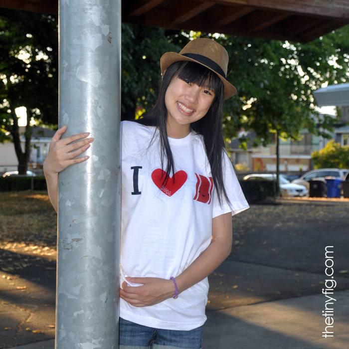 I Heart Bacon Tshirt - White American Apparel Unisex Mens Womens Crew Neck Tee