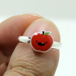 Dorky Apple Ring - Red Kawaii Cute Silver Plated Adjustable