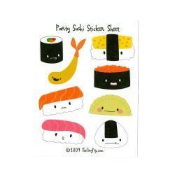 Party Sushi Sticker Sheet